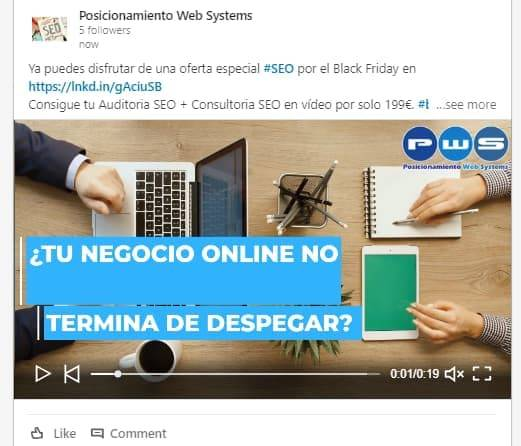 video publicado en linkedin